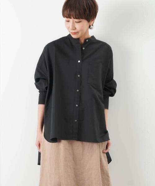 LUCA/LADY LUCK LUCA(ルカ/レディラックルカ)の「SEADRAKE シードレイク 綿麻スタンドバックロングシャツ(シャツ/ブラウス)」|ブラック