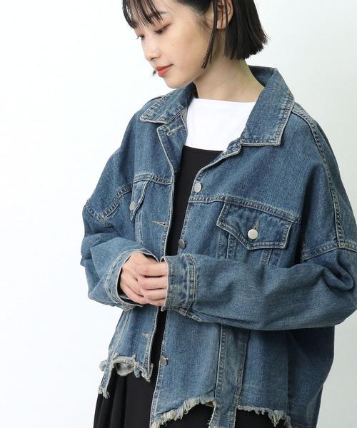 【 Pauline Bleu / ポリーヌブロー 】 裾切りっぱなしデニムGジャン 40232 POR・・