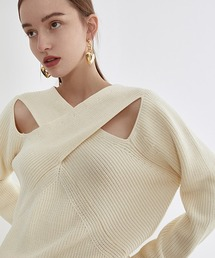 【Fano Studios】【2021SS】Crossing chest rib cottonknit FX21S128アイボリー