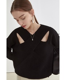 【Fano Studios】【2021SS】Crossing chest rib cottonknit FX21S128ブラック