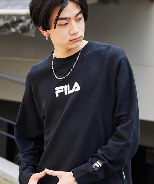 ▽WEB限定 FILA/フィラ 別注 センターロゴ刺繍 サイドスリット裏毛スウェット