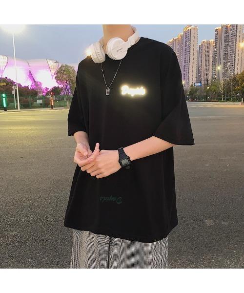 リフレクター バックプリント ビッグシルエット Tシャツ オーバーサイズ