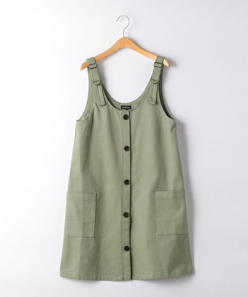 【ジュニア】ツイル フロントボタン ジャンパースカート