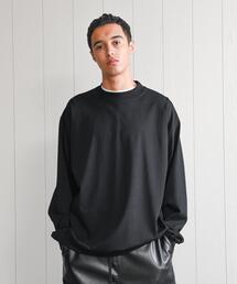 <H>MELLOW COTTON MOCK NECK LONG SLEEVE T-SHIRT/Tシャツ