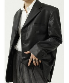 【WB ORIGINALS】【2021AW】PU Leather Button Tailored Jacket WO21W2HOT01