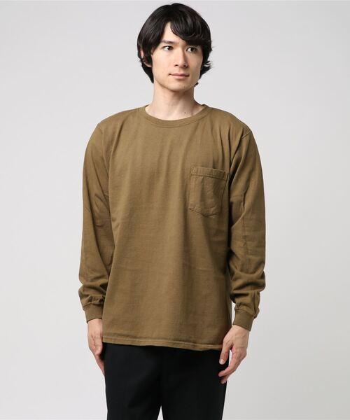 Goodwear(グッドウェア)の「GOODWEAR / グッドウェア ロングスリーブポケットTEE / ロンT(Tシャツ/カットソー)」 ブラウン