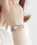 ウォッチ ダイヤモンド スクエア グレージュレザーベルト(腕時計)