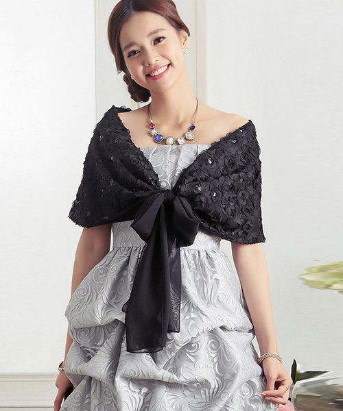 d1c160b9d0f55 DRESS STAR(ドレス スター)のフラワーモチーフリボン付きボレロ(マフラー ショール