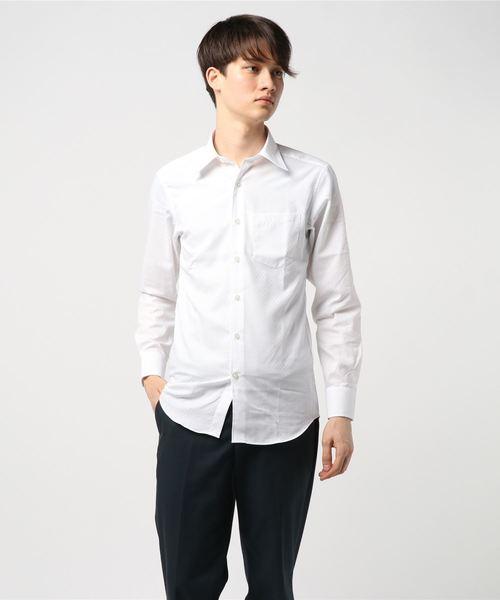 《イージーケアー・抗菌防臭加工》市松柄 レギュラーカラー 長袖シャツ