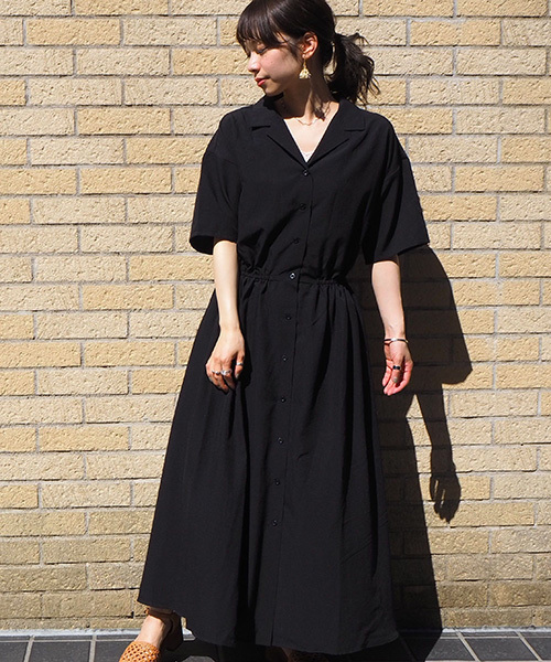 tiptop(ティップトップ)の「[2020SS新色登場] 5分袖開襟ワンピース(ワンピース)」 ブラック