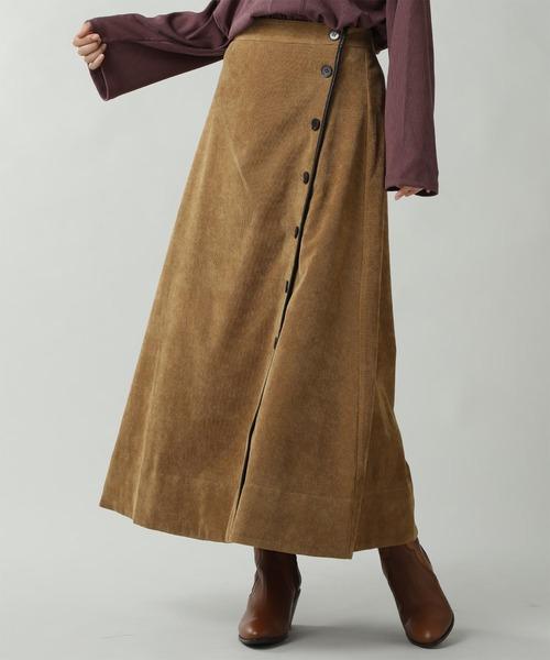 ROSE BUD(ローズバッド)の「コーデュロイパイピングスカート(スカート)」 ブラウン