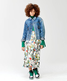 TRUNO by NOISE MAKER(トルノバイノイズメーカー)の【高級サテン使用】ボタニカル花柄スカート(スカート)