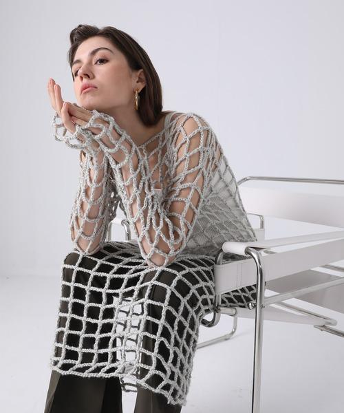 【chuclla】【2021/SS】Mesh knit one-piece chw1406