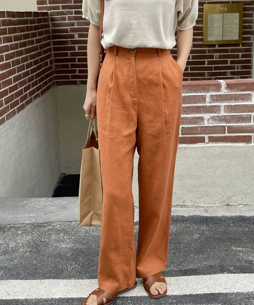 【chuclla】【2021/SSリネン素材追加】Semi wide color slacks sb-1 sb-4 chw869