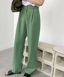 【chuclla】【2021/SSリネン素材追加】Semi wide color slacks sb-1 sb-4 chw869グリーン