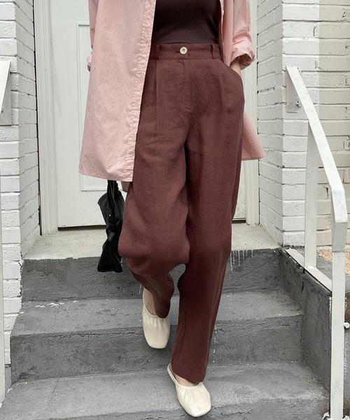 【chuclla】【2021/SSリネン素材追加】Semi wide color slacks sb-1 chw869