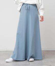 【WEB限定カラー:ライトブルー】USAコットン裏毛フレアスカート(スウェットスカート/マキシスカート/ロングスカート)