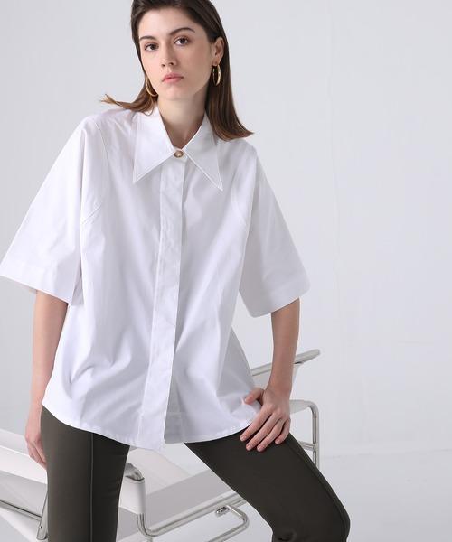 【chuclla】【2021/SS】Big collar half sleeve shirt chw1407