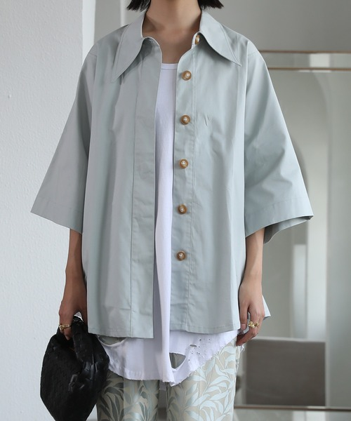 【chuclla】【2021/SS】Big collar half sleeve shirt sb-5 chw1407