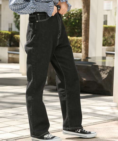 kutir(クティール)の「【低身長向けXSサイズあり】ハイウエストストレートデニムパンツ(デニムパンツ)」|ブラック