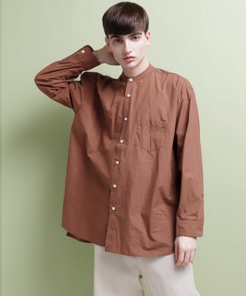 ビッグシルエットヘビーコットンバンドカラーシャツ