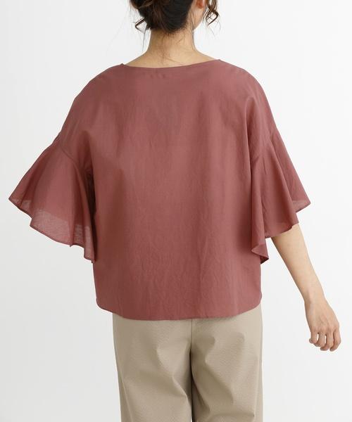 ウォッシュドコットンリネンボイルフレアスリーブシャツ