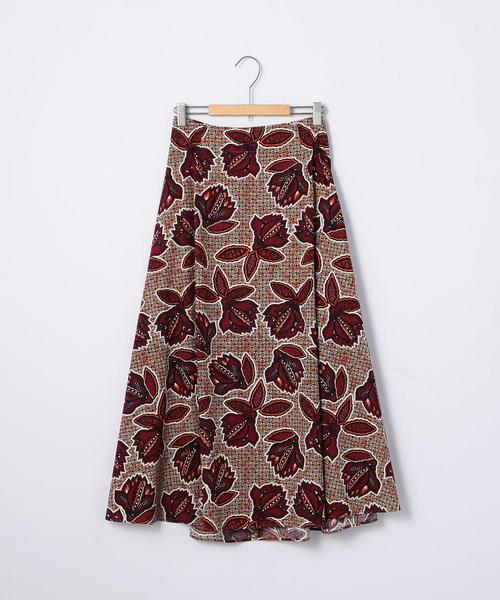 バティックプリントフレアロングスカート