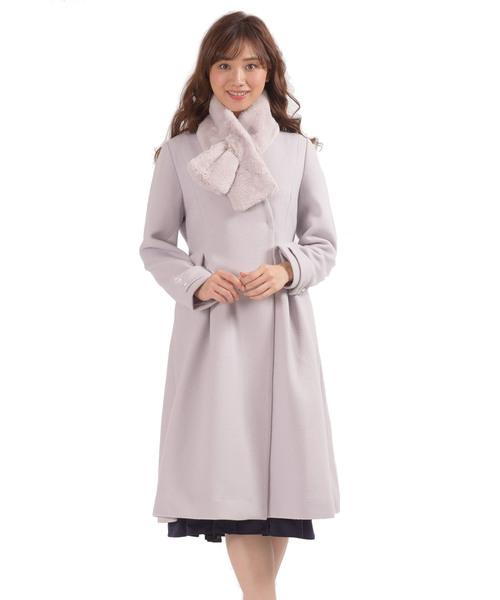 ファッションデザイナー ファーティペット付き Vネックノーカラーコート, 京都パン屋GREEN 870a2e8a