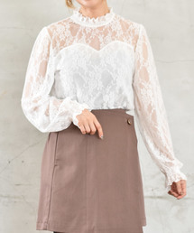Emsexcite(エムズエキサイト)の裾シャーリングレースカット(シャツ/ブラウス)