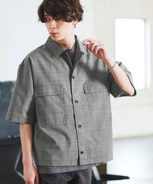 TRストレッチ スーツ地 オーバーサイズ ドレープ CPOシャツ/レギュラカラーシャツ(1/2 sleeve)グレー系その他