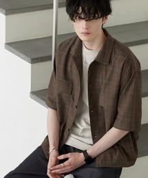 TRストレッチ スーツ地 オーバーサイズ ドレープ CPOシャツ/レギュラカラーシャツ(1/2 sleeve)ブラウン系その他