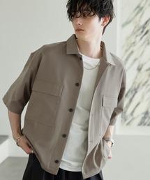 TRストレッチ スーツ地 オーバーサイズ ドレープ CPOシャツ/レギュラカラーシャツ(1/2 sleeve)ベージュ系その他