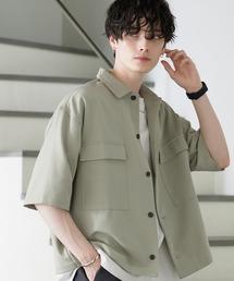TRストレッチ スーツ地 オーバーサイズ ドレープ CPOシャツ/レギュラカラーシャツ(1/2 sleeve)グリーン系その他