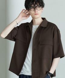 TRストレッチ スーツ地 オーバーサイズ ドレープ CPOシャツ/レギュラカラーシャツ(1/2 sleeve)ブラウン