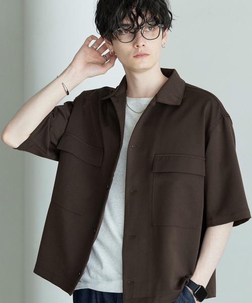 TRストレッチ スーツ地 オーバーサイズ ドレープ CPOシャツ(1/2 sleeve)