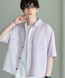 TRストレッチ スーツ地 オーバーサイズ ドレープ CPOシャツ/レギュラカラーシャツ(1/2 sleeve)ライラック