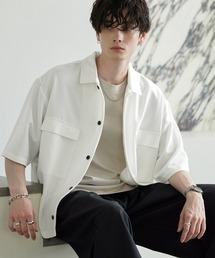 TRストレッチ スーツ地 オーバーサイズ ドレープ CPOシャツ/レギュラカラーシャツ(1/2 sleeve)オフホワイト