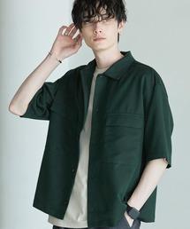 TRストレッチ スーツ地 オーバーサイズ ドレープ CPOシャツ/レギュラカラーシャツ(1/2 sleeve)グリーン