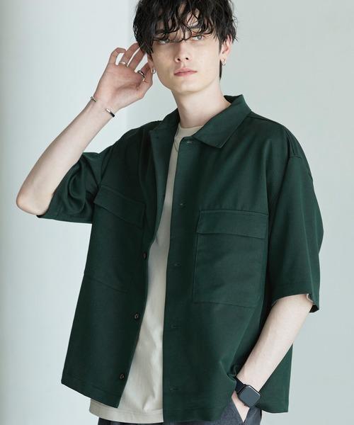 TRストレッチ スーツ地 オーバーサイズ ドレープ CPOシャツ/レギュラカラーシャツ(1/2 sleeve)