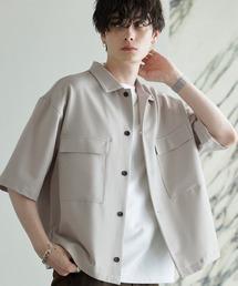 TRストレッチ スーツ地 オーバーサイズ ドレープ CPOシャツ/レギュラカラーシャツ(1/2 sleeve)ライトグレー