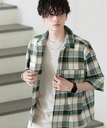 TRストレッチ スーツ地 オーバーサイズ ドレープ CPOシャツ/レギュラカラーシャツ(1/2 sleeve)グリーン系その他2