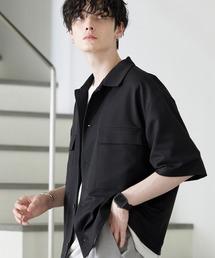 TRストレッチ スーツ地 オーバーサイズ ドレープ CPOシャツ/レギュラカラーシャツ(1/2 sleeve)ブラック