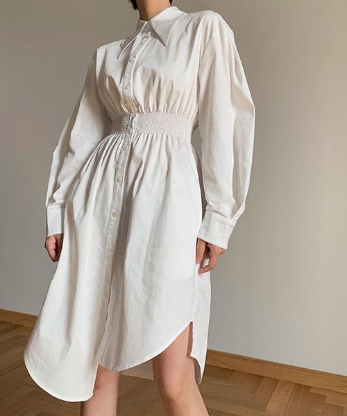 【chuclla】【2021/SS】Balimore collar shirt one-piece chw1408
