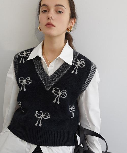 【Fano Studios】【2021SS】Flower ribbon jacquard knit vest FC21S044