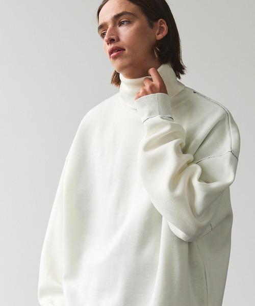 オーバーサイズ ミラノリブ ステッチリンキング タートルネックニットプルオーバー EMMA CLOTHES 2021AW