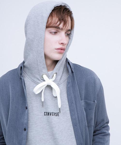 CONVERSE/コンバース EMMA CLOTHES 別注  オーバーサイズプルオーバーパーカー(袖刺繍)
