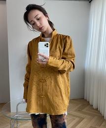 【SANSeLF】Se middle neck china shirt sanwt1ブラウン