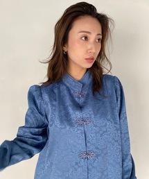 【SANSeLF】Se middle neck china shirt sanwt1ブルー