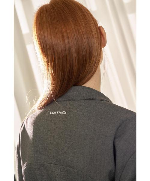 LOER STUDIO(ロアスタジオ)の「『LOER STUDIO』SIDE SLIT CROP BLAZER/サイドスリット クロップブレザー テーラードジャケット(テーラードジャケット)」|詳細画像