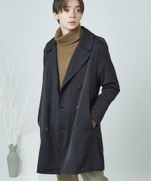 T/R スーツ地 オーバートレンチコート(MONO-MART)ネイビー